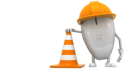 website mouse with hard hat holding traffic cone